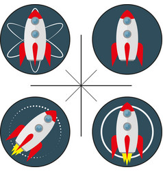 set of four logos with rocket vector image