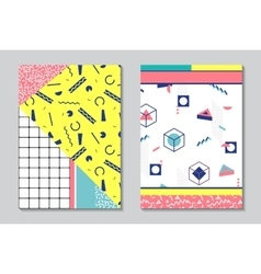 Trendy geometric elements memphis cards vector image vector image
