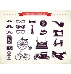 vintage hipster objects collection vector image vector image