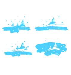 Winter landscape drawing brush vector