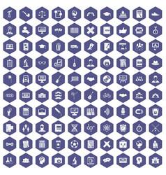 100 student icons hexagon purple vector