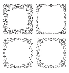 4 square frames in vintage style vector