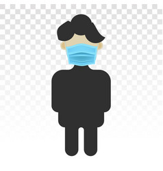 A man wearing mouth mask or face mask - flat vector