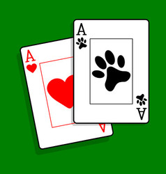 Ace of paws playing cards vector image