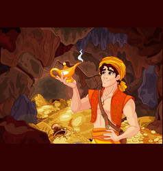 Aladdin and the wonderful lamp vector