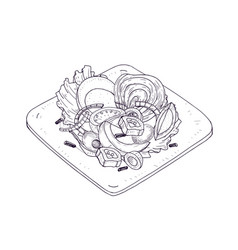 Appetizing salad with vegetables and fish on plate vector
