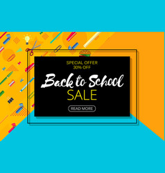 Back to school banner design with lettering vector