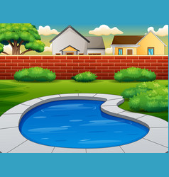 Background swimming pool in backyard vector