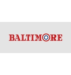 Baltimore city name with flag colors vector