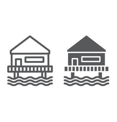 Beach bungalow line and glyph icon seaside and vector