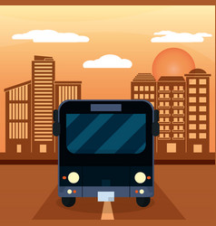 black bus city sunset vector image