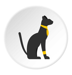 black sitting egyptian cat icon circle vector image