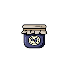 blue jam jar flat icon vector image