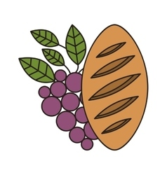 bread and wine icon vector image