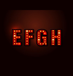 bulb red light font on background vector image