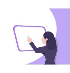 Businesswoman doing online flat vector