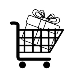 Cart buy gift market isolated vector