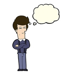 Cartoon annoyed man with thought bubble vector
