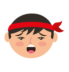Cartoon face chinese man talking vector