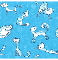 cats and florals seamless pattern vector image