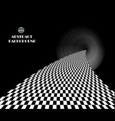 Checkered pattern in dark place walk way vector