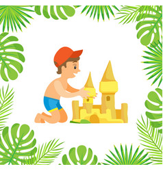 child making hands sand castle summer vector image