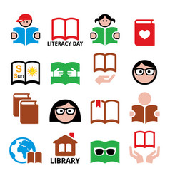 Children and adults reading books international l vector