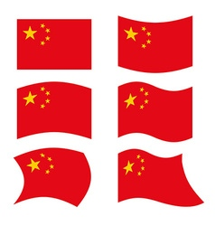 China Flag Set national flag of Chinese state Red vector