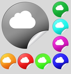 cloud icon sign Set of eight multi-colored round vector image