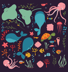 collection colorful sea and ocean animals vector image