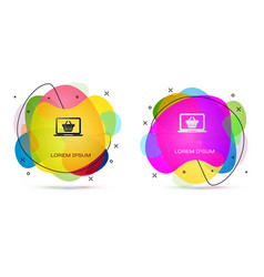 color shopping basket on screen laptop icon vector image