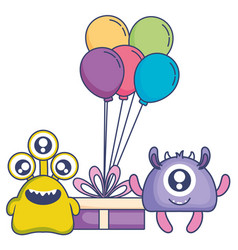 Crazy monsters with gift and balloons helium vector