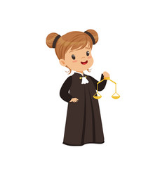 Cute judge girl cartoon character holding golden vector