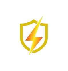 Electric arrow inside shield logo design vector