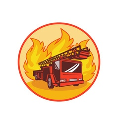 Fire truck or engine appliance with flames vector