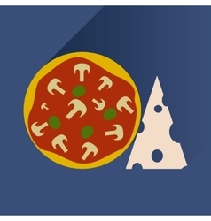 Flat with shadow Icon pizza and cheese vector