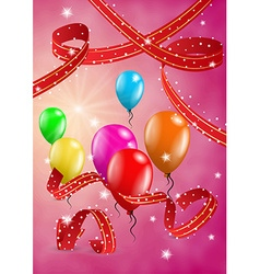 Flying balloons on red background vector