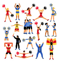 Football players cheerleaders and fans set vector