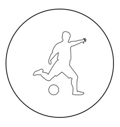footballer icon black color in circle vector image