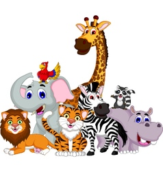 funny animal cartoon collection vector image