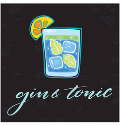 Gin tonic glass cocktail background im vector