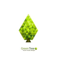 Green mosaic tree ecology design vector image