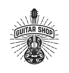 guitar shop rock and roll design element for logo vector image