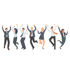 Happy group office worker jumping vector