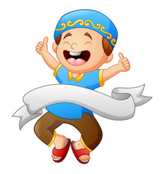 Happy muslim kid giving thumb up with white ribbon vector