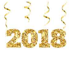 happy new 2018 year gold glitter particles and vector image