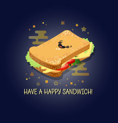 have a happy sandwich of vector image