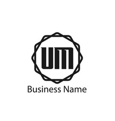 initial letter um logo template design vector image