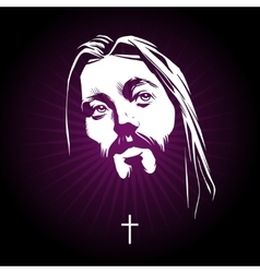 Jesus face portrait vector image