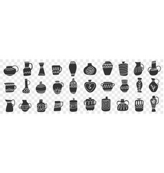 Jugs and containers doodle set vector